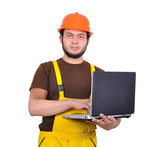 builder with notebook