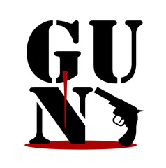 gun word graphic design with pistol and blood