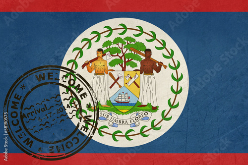 Welcome to Belize flag with passport stamp