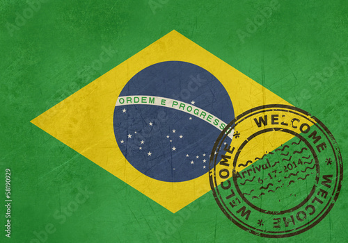 Welcome to Brazil flag with passport stamp