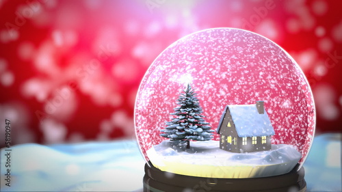 Christmas Snow globe Snowflake with Snowfall on Red Background