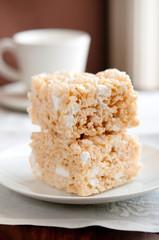 two rice crispy and marshmallow treats