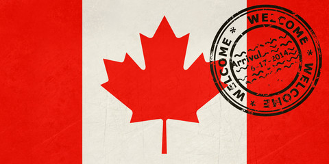 Welcome to Canada flag with passport stamp