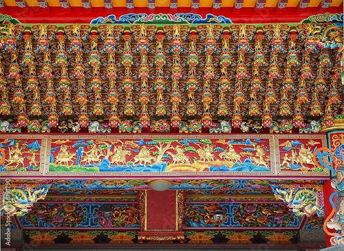 Chinese Temple Ceiling with Intricate Decorations