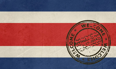 Welcome to Costa Rica flag with passport stamp