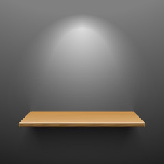 Wooden shelf on dark wall