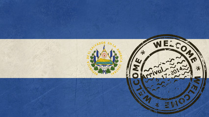 Welcome to El Salvador flag with passport stamp