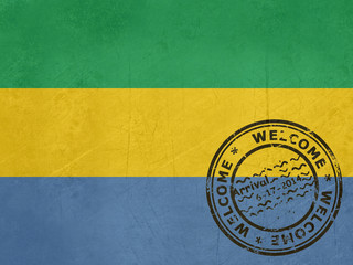 Welcome to Gabon flag with passport stamp