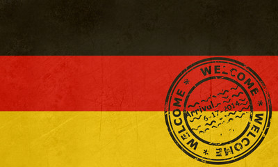 Welcome to Germany flag with passport stamp