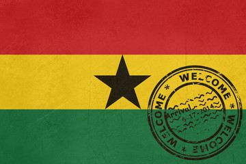Welcome to Ghana flag with passport stamp