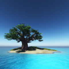 tree on island and the ocean