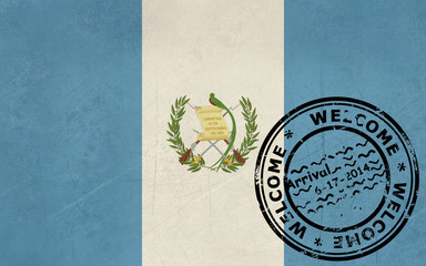 Welcome to Guatemala flag with passport stamp