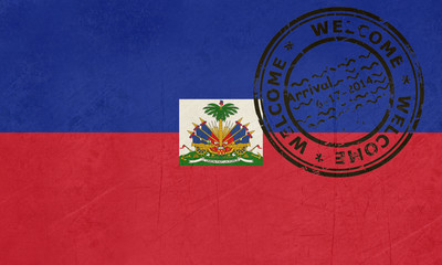 Welcome to Haiti flag with passport stamp