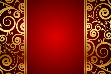 Vector red background with gold ornaments