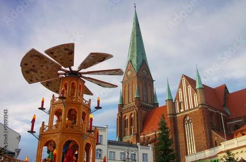 Leinwandbild Motiv Schwerin Weihnachtsmarkt - Schwerin christmas market  04