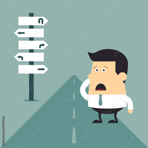 Young businessman do not know where to go, Business concept