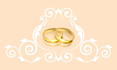 Vector wedding invitation with gold rings and floral decoration