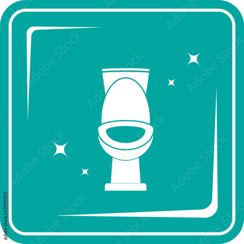 background with blue icon with shiny white toilet