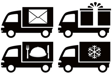 set black truck with snowflake, envelope, food dish, gift box