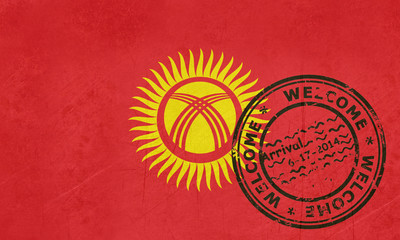 Welcome to Kyrgyzstan flag with passport stamp