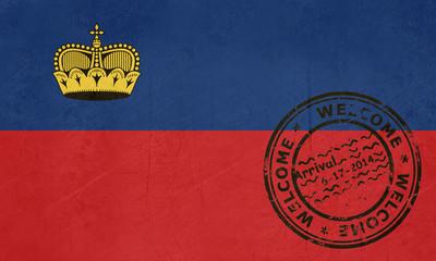 Welcome to Liechtenstein flag with passport stamp