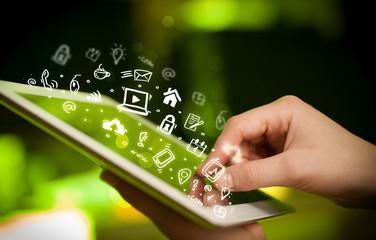 Finger pointing on tablet pc, social media concept