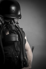 Smoke, nuclear disaster, man with gas mask, protection