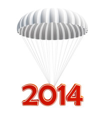 parachute new year's 2014 isolated on a white background