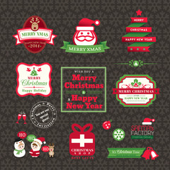 Vector set of Christmas labels and frames design