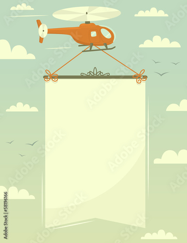 Helicopter with banner. Vector illustration.
