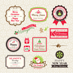 Christmas Collection of labels and frames design elements