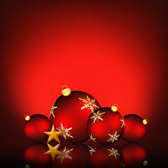 Christmas background with an illustration of red baubles