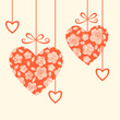 Hearts with floral texture