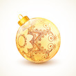 Ornate vintage golden isolated Christmas ball
