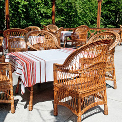 furniture made of willow twigs on the outdoor terrace restaurant