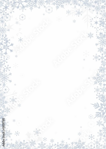 Snowflakes on white background vector frame