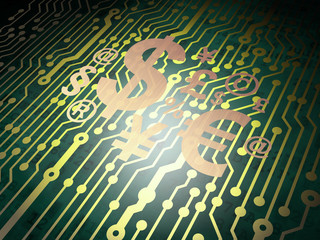 Finance concept: circuit board with Finance Symbol