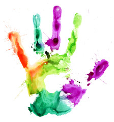 Close up of colored hand print on white