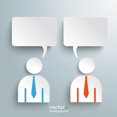 Two Humans 2 Speech Rectangle Speech Bubbles