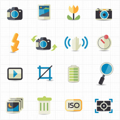 Photo camera setting icons
