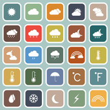 Weather flat icons on blue background