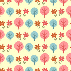 Cute childish seamless pattern with trees and flowers