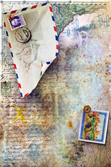 Background with old stamps
