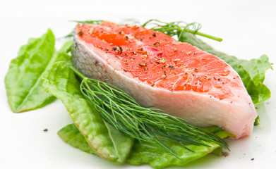 : Fresh red salmon with vegetables before preparation