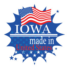 Label with flag and text Made in Iowa, vector