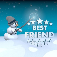 snowman with magic wand and best friend sign