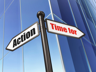 Timeline concept: sign Time for Action on Building background