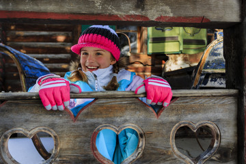 Winter, apres ski - girl enjoying winter holiday