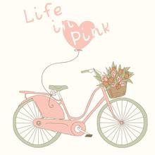 Valentine card à vélo rose. Vie en rose