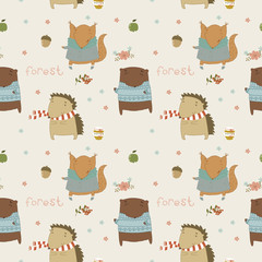 Cute seamless pattern with wild animals